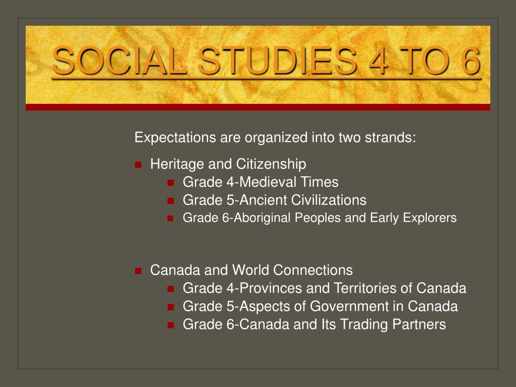 SOCIAL STUDIES 4 TO 6