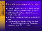 intro the assessment of the topic