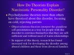 how do theorists explain narcissistic personality disorder