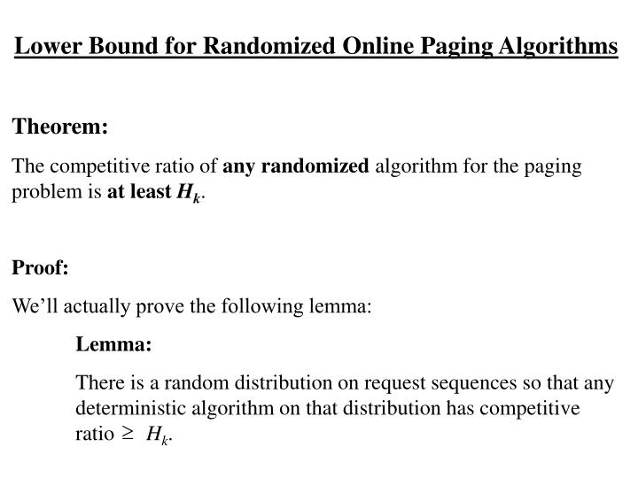 Lower Bound for Randomized Online Paging Algorithms