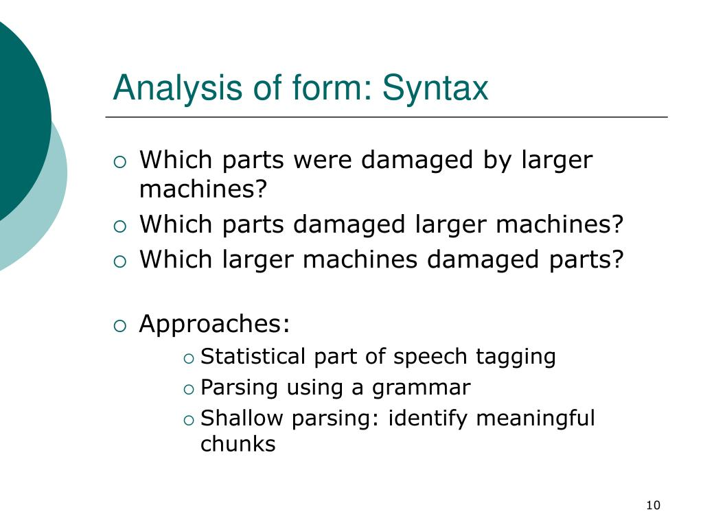 Analysis of form: Syntax