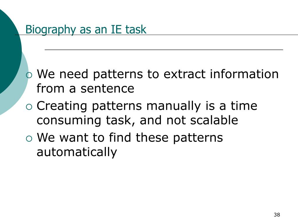 Biography as an IE task