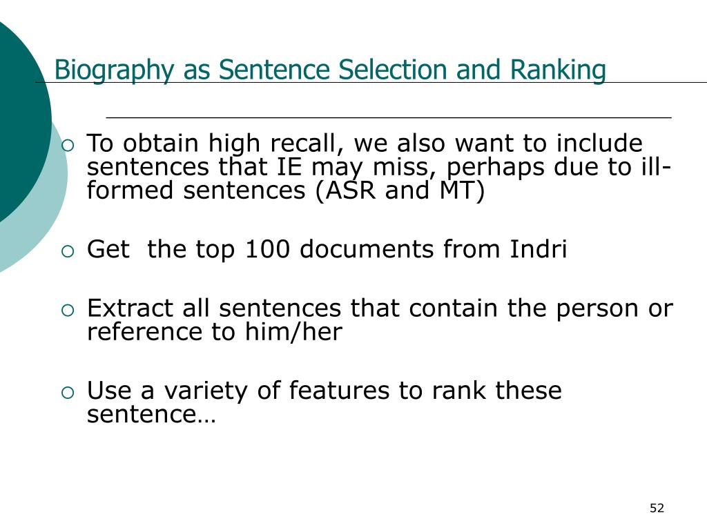 Biography as Sentence Selection and Ranking