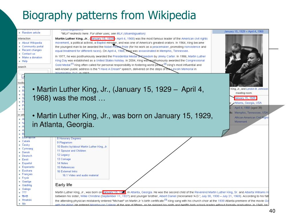 Biography patterns from Wikipedia