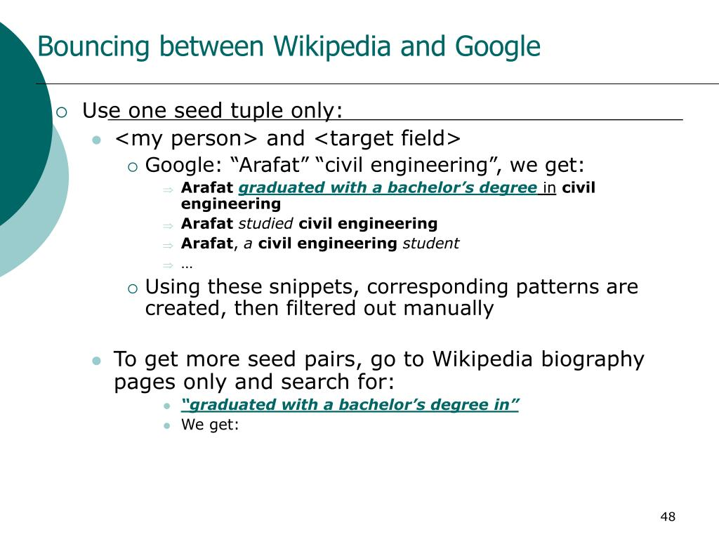 Bouncing between Wikipedia and Google