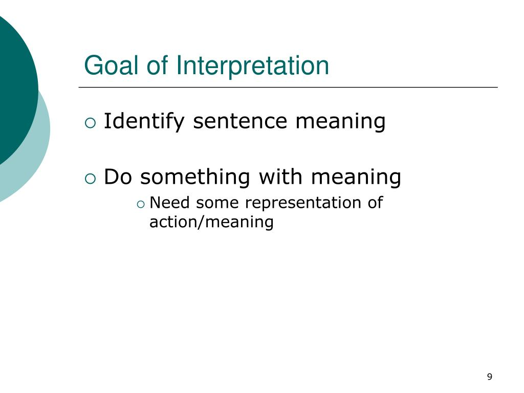 Goal of Interpretation