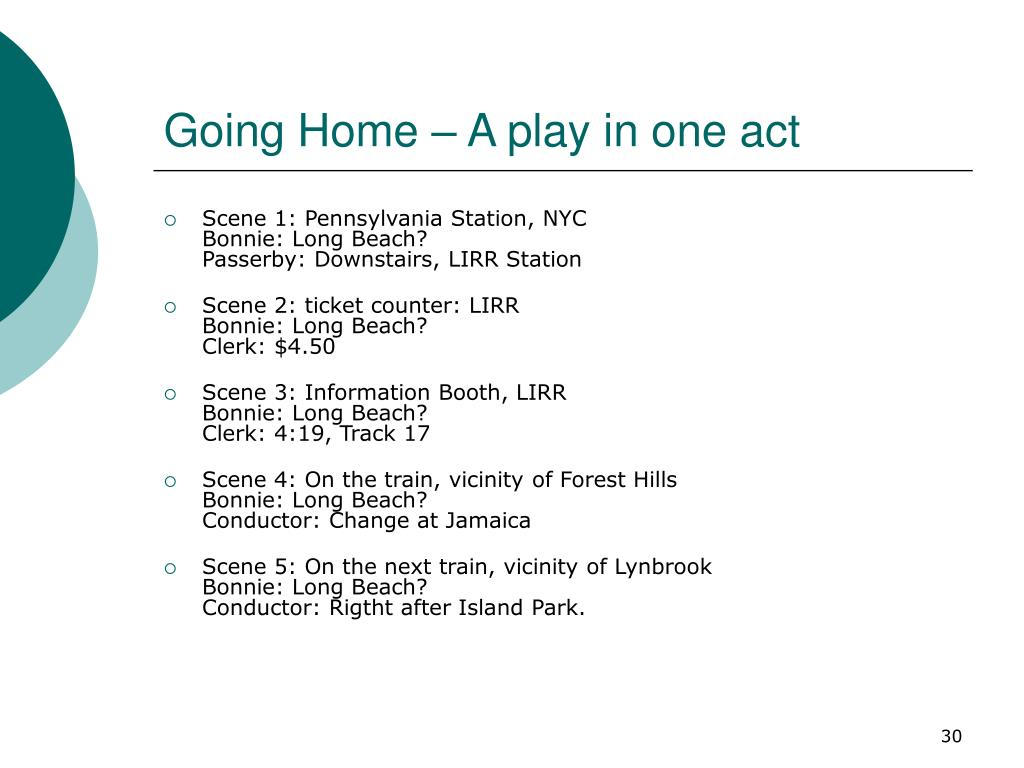 Going Home – A play in one act