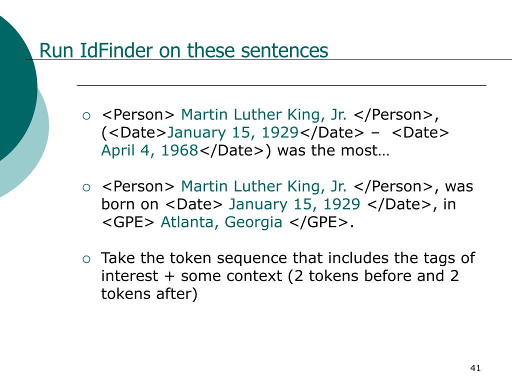 Run IdFinder on these sentences