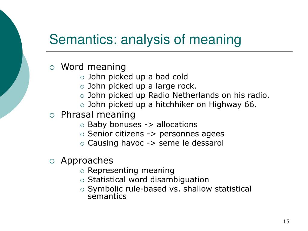 Semantics: analysis of meaning