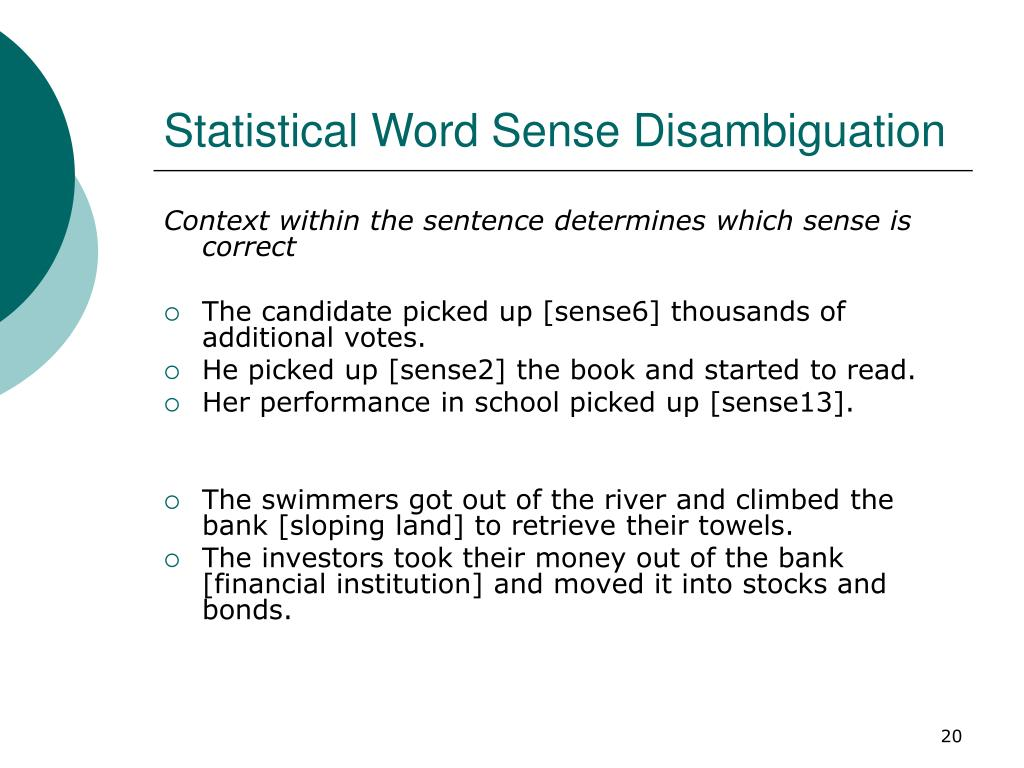 Statistical Word Sense Disambiguation