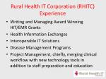 rural health it corporation rhitc experience