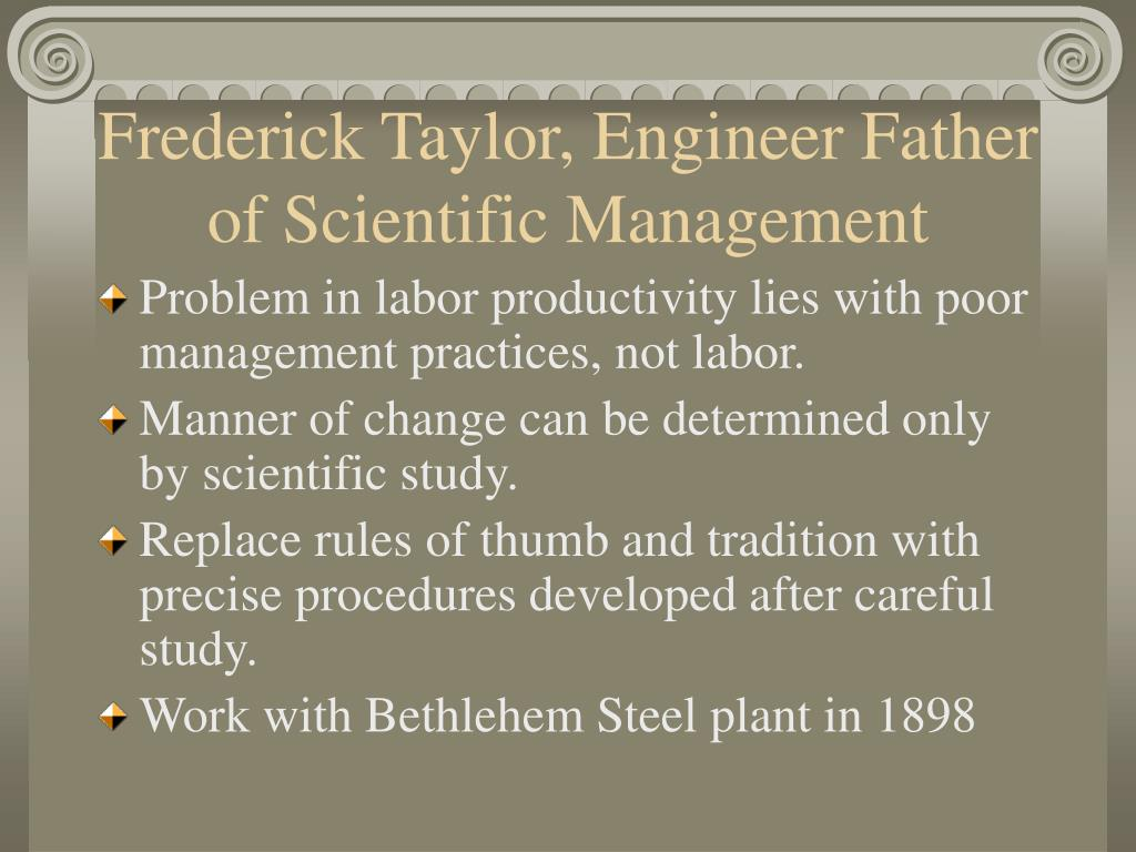 henry gantt scientific management In 1887 he joined frederick w taylor in applying scientific management principles to the work at midvale henry gantt's legacy to project management is the.