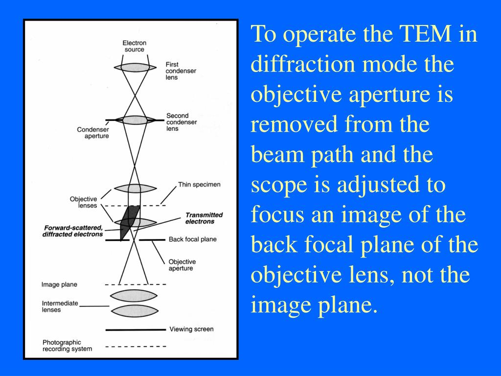 To operate the TEM in diffraction mode the objective aperture is removed from the beam path and the scope is adjusted to focus an image of the back focal plane of the objective lens, not the image plane.