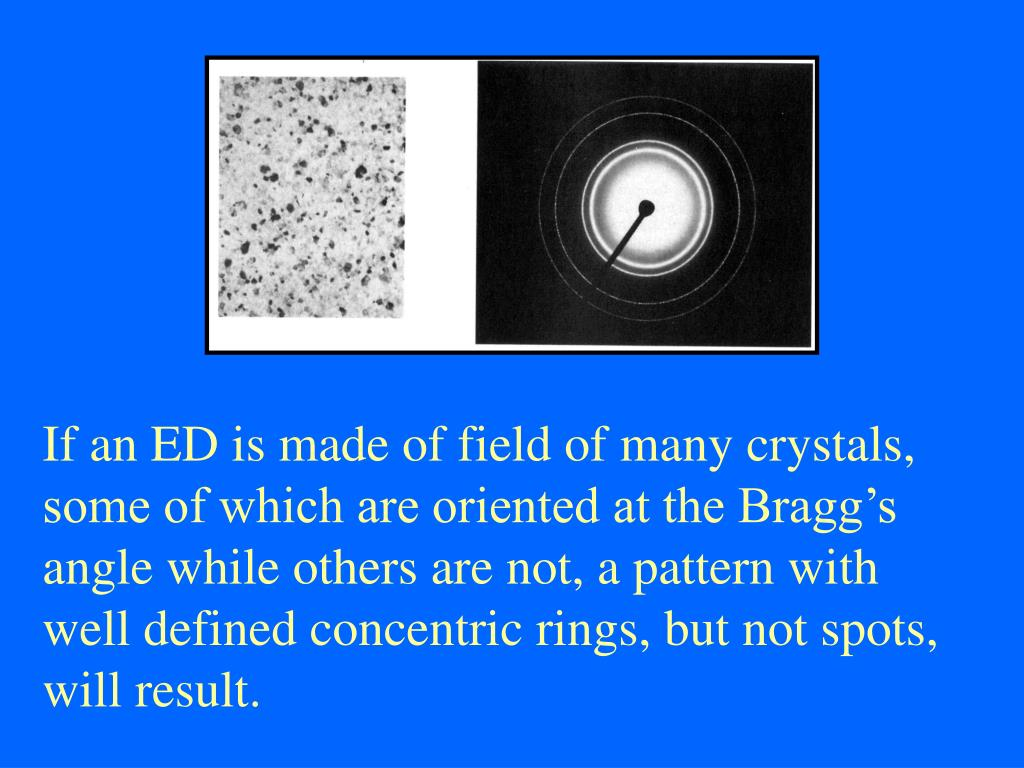 If an ED is made of field of many crystals, some of which are oriented at the Bragg's angle while others are not, a pattern with well defined concentric rings, but not spots, will result.