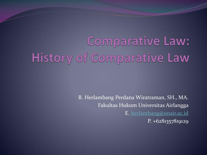 Comparative law history of comparative law l.jpg