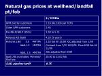 natural gas prices at wellhead landfall pt fob