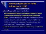 antiviral treatment for novel influenza a h1n1