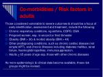 co morbidities risk factors in adults