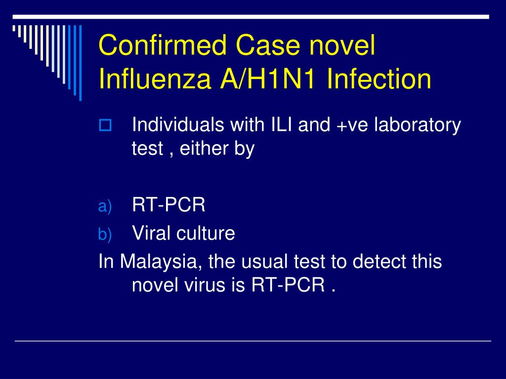 Confirmed Case novel Influenza A/H1N1 Infection