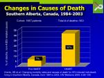 changes in causes of death southern alberta canada 1984 2003