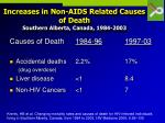 increases in non aids related causes of death southern alberta canada 1984 2003