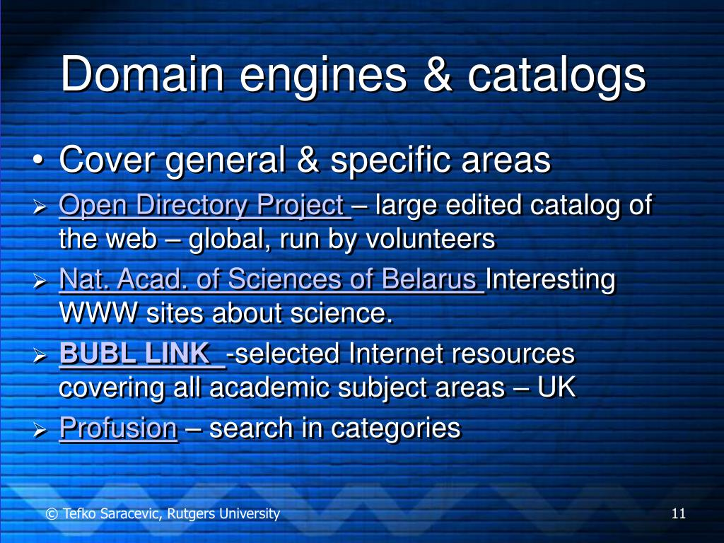 Domain engines & catalogs