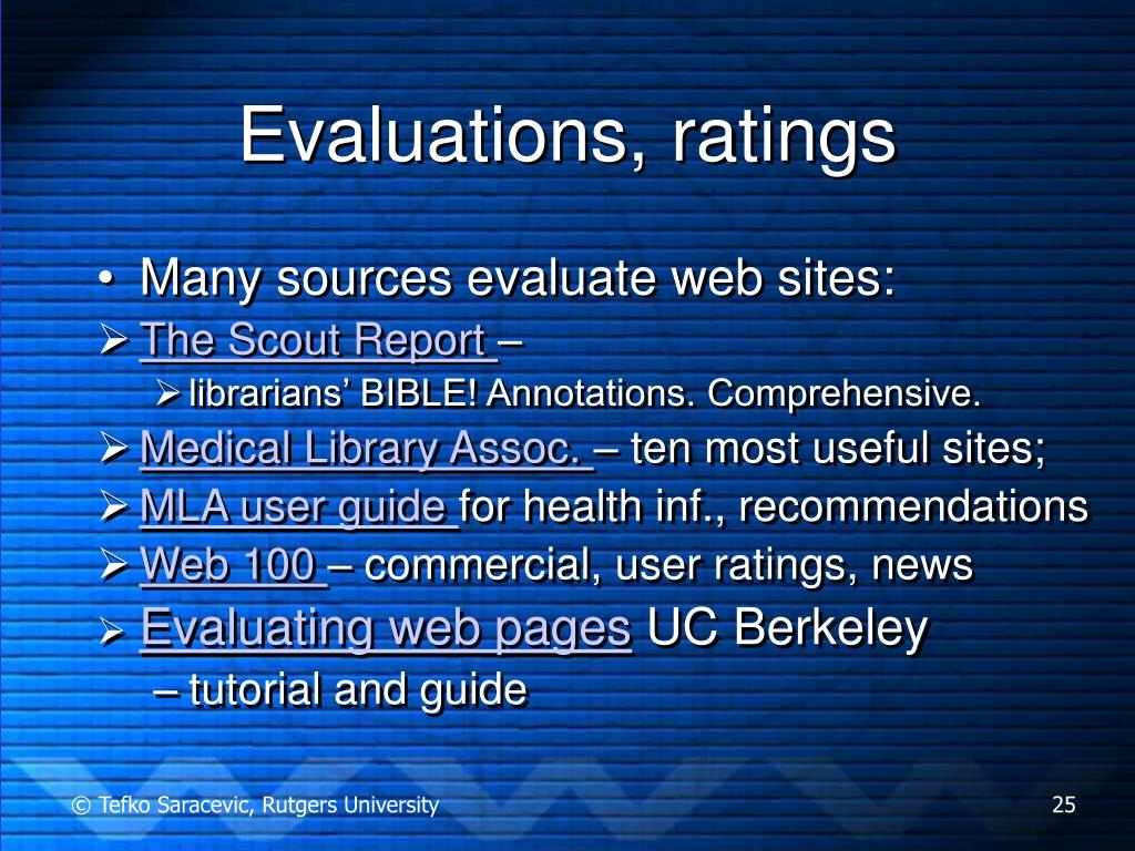 Evaluations, ratings
