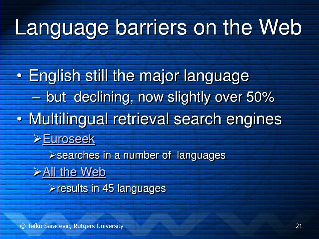 Language barriers on the Web