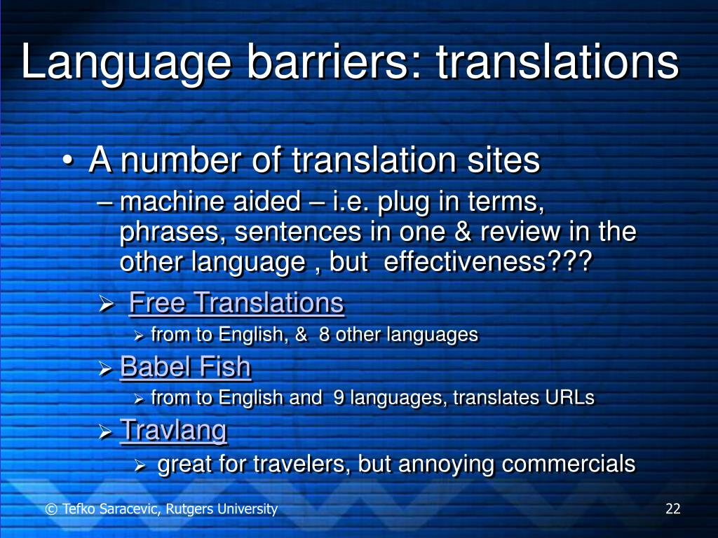Language barriers: translations