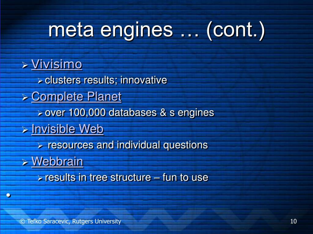 meta engines … (cont.)