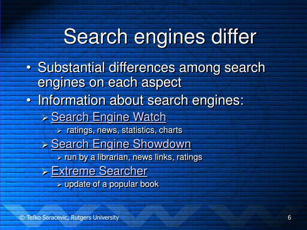 Search engines differ