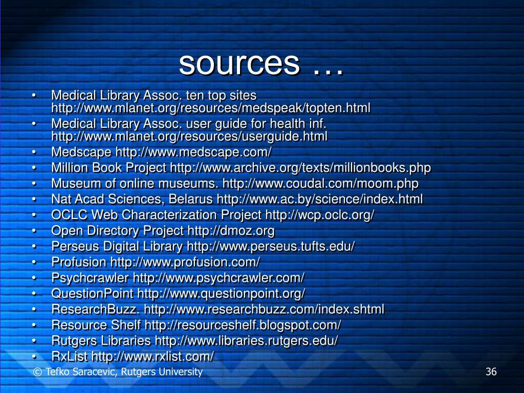 sources …