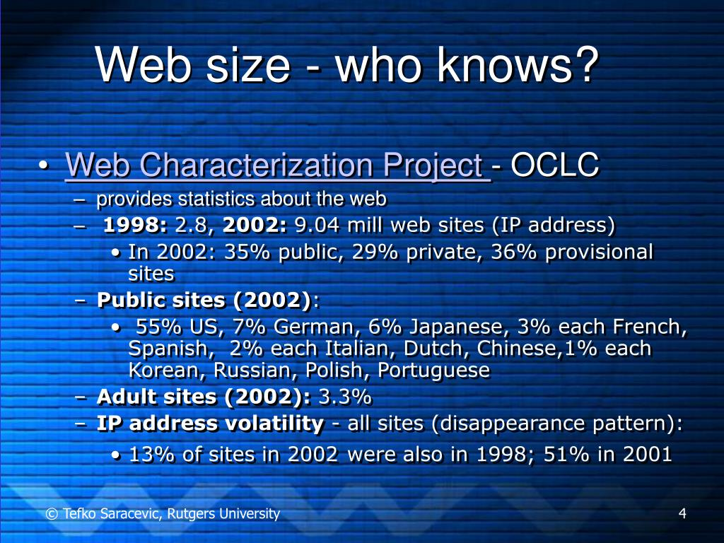 Web size - who knows?