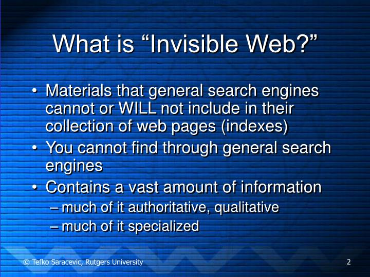 What is invisible web