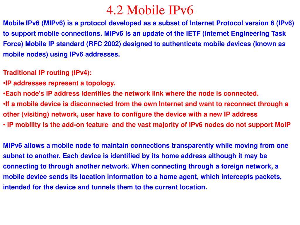 4.2 Mobile IPv6