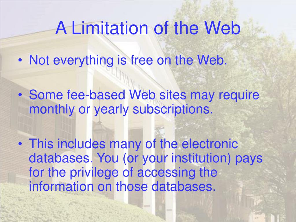 A Limitation of the Web
