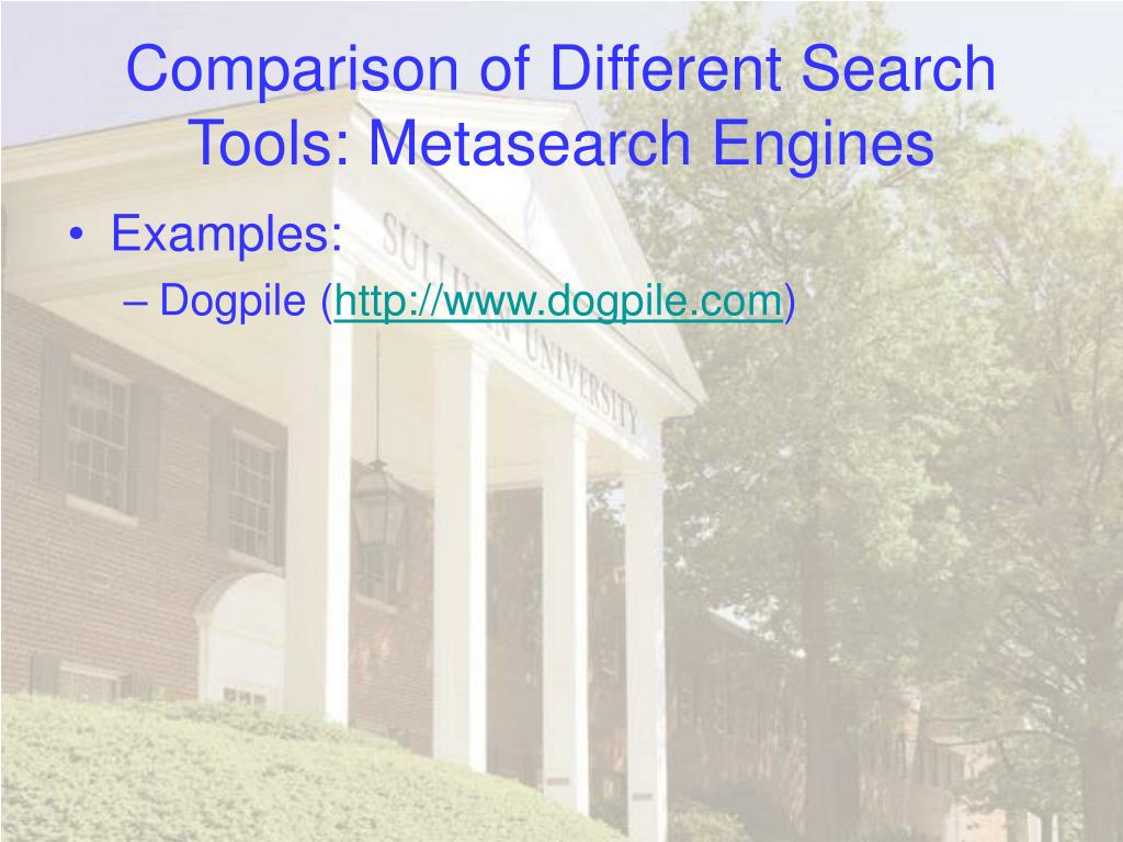 Comparison of Different Search Tools: Metasearch Engines