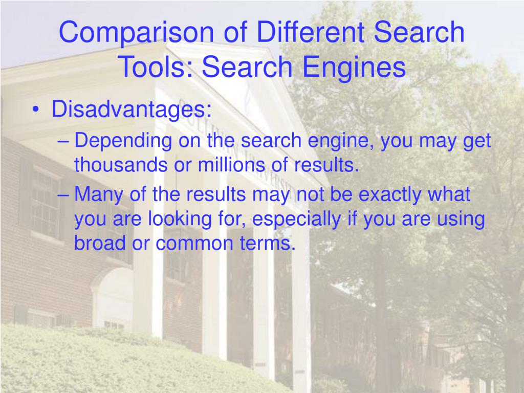 Comparison of Different Search Tools: Search Engines
