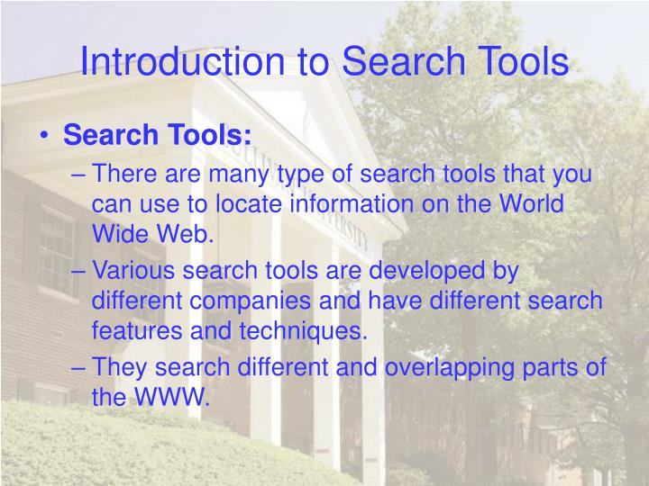 Introduction to search tools3