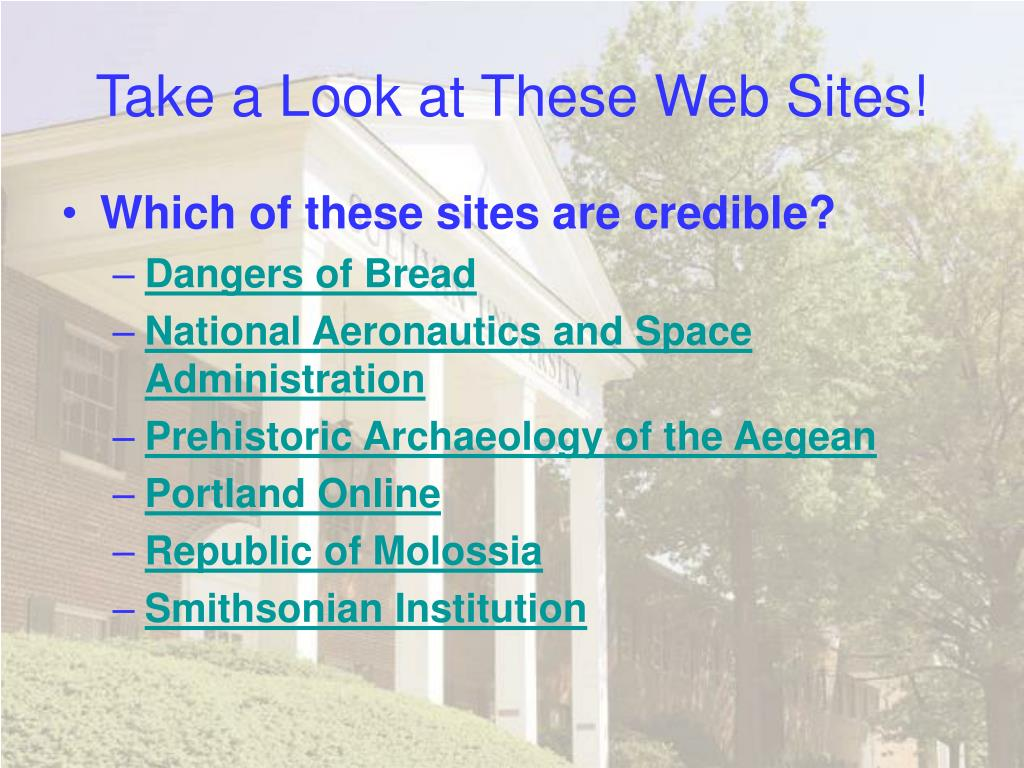 Take a Look at These Web Sites!