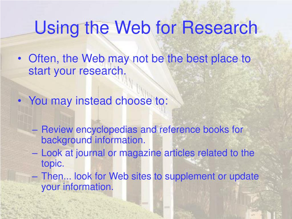 Using the Web for Research