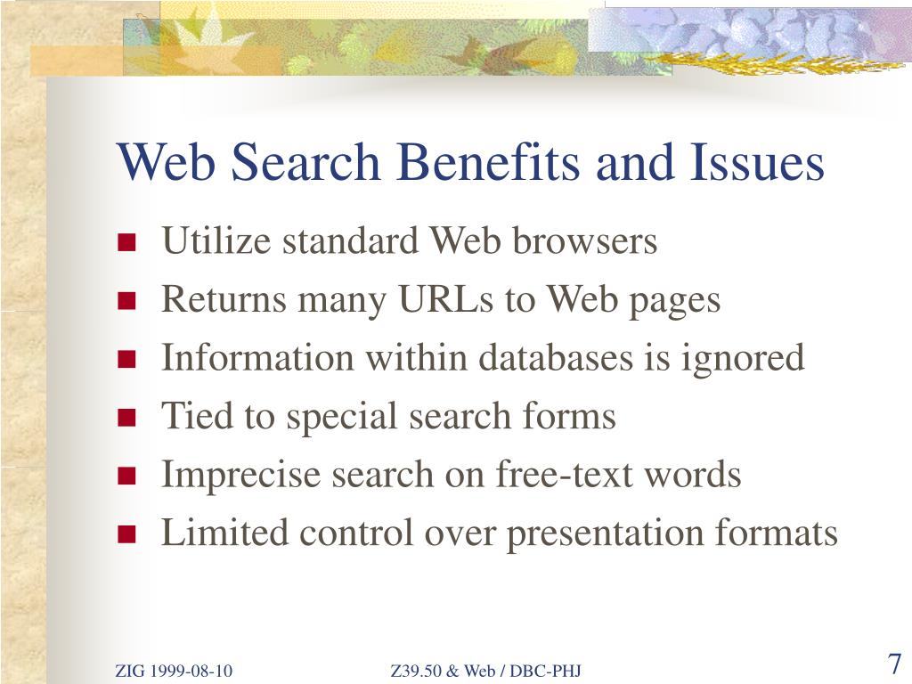 Web Search Benefits and Issues