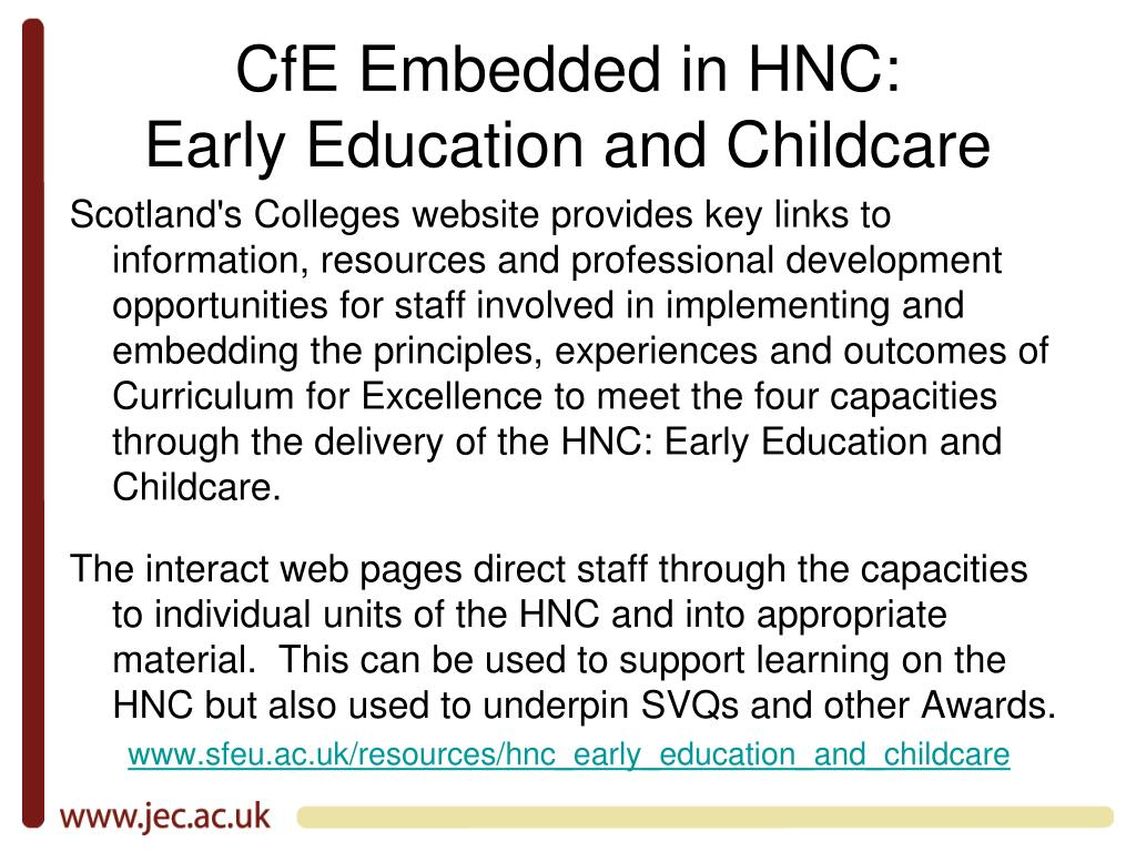 CfE Embedded in HNC: