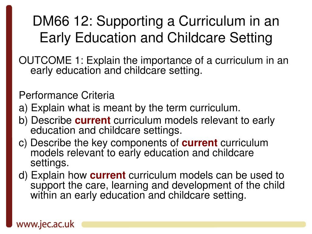 DM66 12: Supporting a Curriculum in an Early Education and Childcare Setting