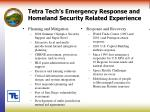 tetra tech s emergency response and homeland security related experience