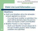 claim line level information cont