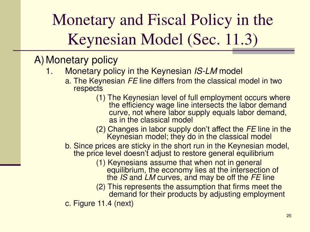 Monetary and Fiscal Policy in the Keynesian Model (Sec. 11.3)
