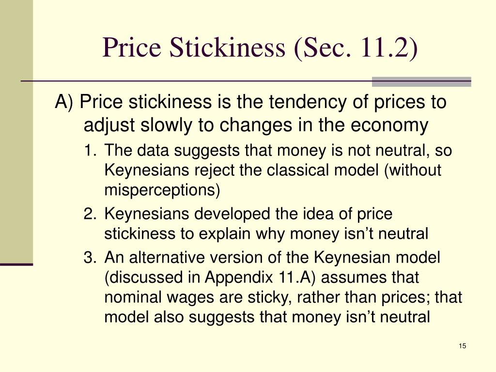 Price Stickiness (Sec. 11.2)