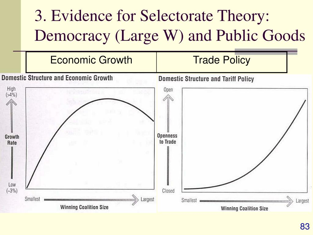 3. Evidence for Selectorate Theory: Democracy (Large W) and Public Goods