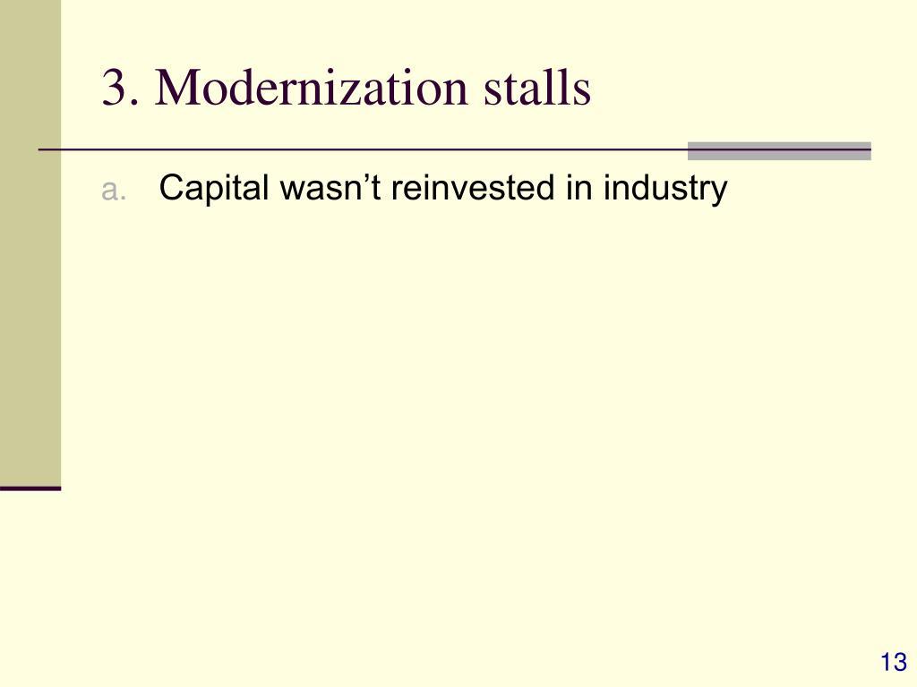 3. Modernization stalls